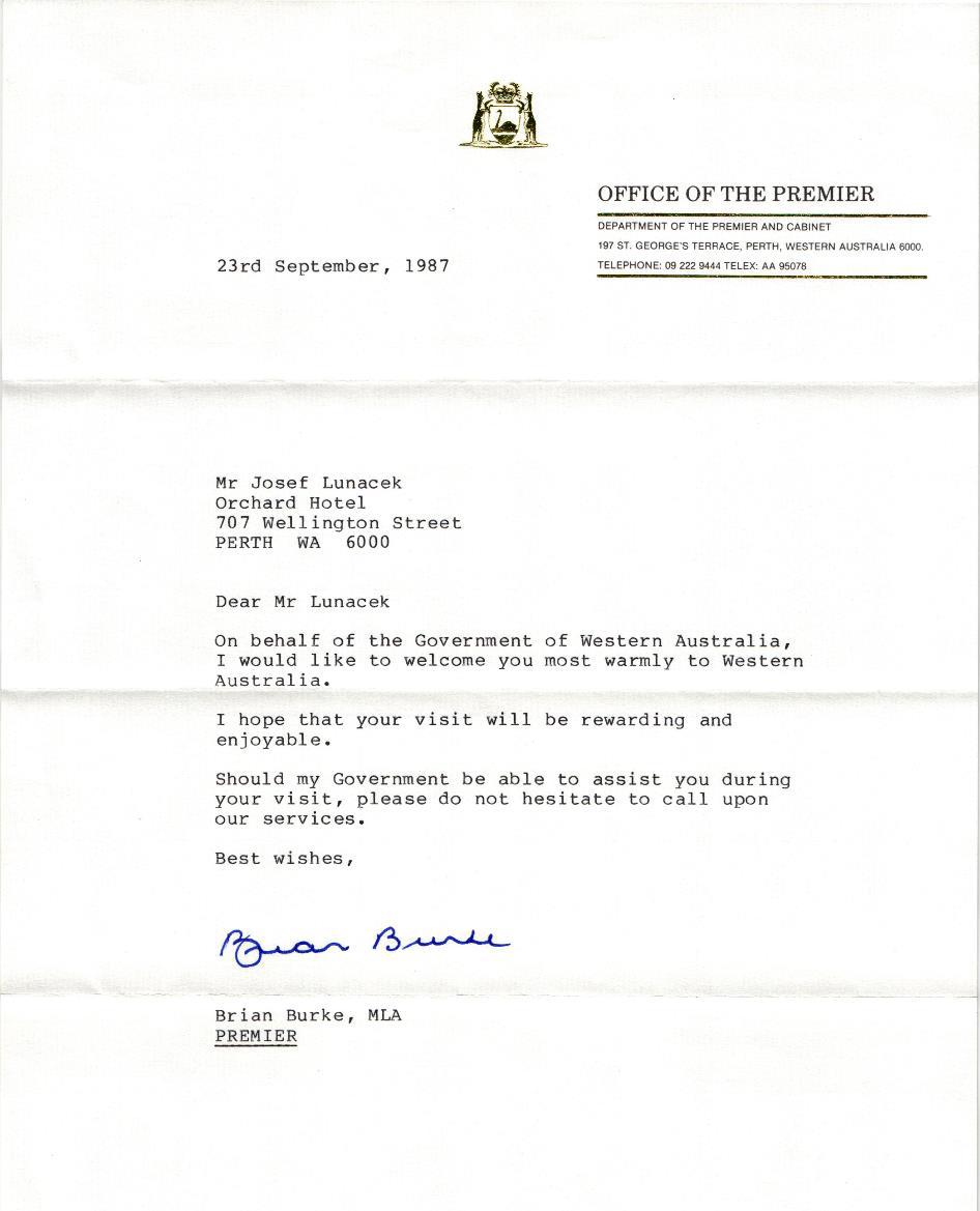 Obrázek 2: Uvítací dopis v Hotelu Orchard, Perth